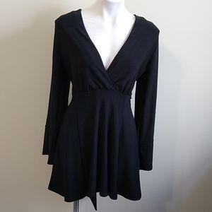 Asos black long sleeve mini dress size 6 NWOT